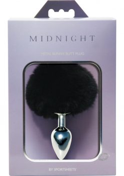 Midnight Metal Bunny Butt Plug Black And Silver