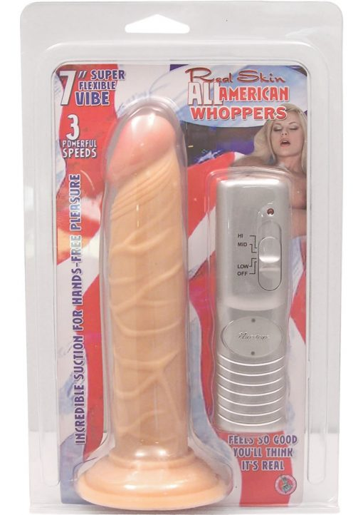 Real Skin All American Whoppers Vibrating Dong 7 Inch Flesh