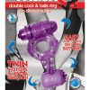 The Macho Double Cock And Balls Ring With Clitoral Tickler Silicone Waterproof Purple