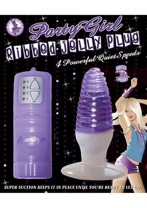 Party Girl Ribbed Jelly Plug Waterproof Purple
