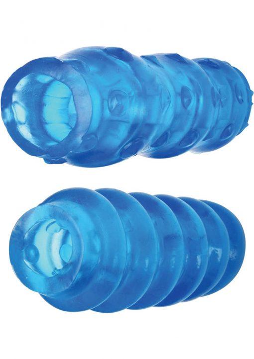 Adam And Eve Cyberskin Extra Long Reversible Stroker Waterproof 7 Inch Blue