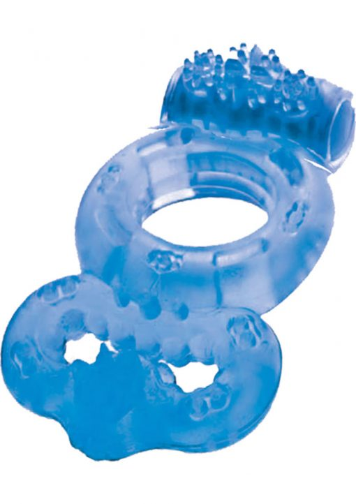 The Macho Double Ring Clitoral And Testicular Stimulation Vibrating Cockring Waterproof Blue