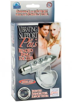 Support Plus Vibrating Beaded Ring Exciter With Removable 3 Speed Bullet Clear