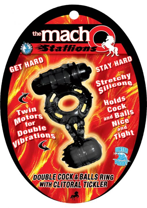The Macho Stallions Double Cock And Ball Ring With Clitoral Tickler Silicone Waterproof Black