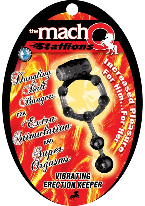 The Macho Stallions Vibrating Erection Keeper With Dangling Ball Bangers Black