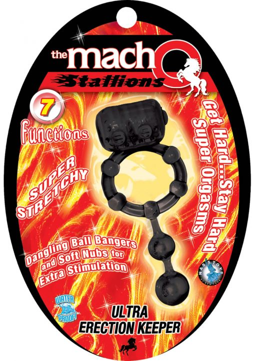 The Macho Stallions Ultra Erection Keeper With Dangling Ball Bangers 7 Functions Waterproof Black