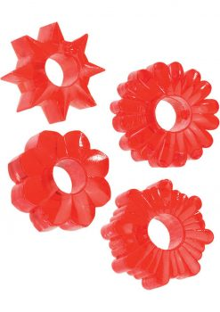 Basic Essentials Super Stretchy TPR Enhancers Assorted Shapes Red