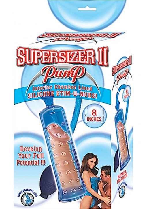 Supersizer II Penis Pump Chamber Lined With Silicone Nubs 8 Inch Blue
