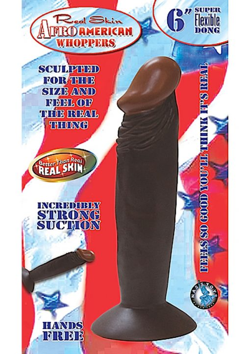 Real Skin Afro American Whoppers Dong 6 Inch Brown