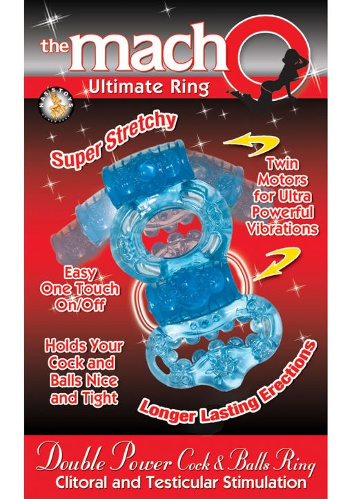 The Macho Ultimate Ring Double Power Cock And Ball Ring Clitoral And Testicular Stimulator Blue