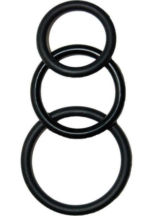 Super Silicone Cockrings Set Of 3 Rings Waterproof Black
