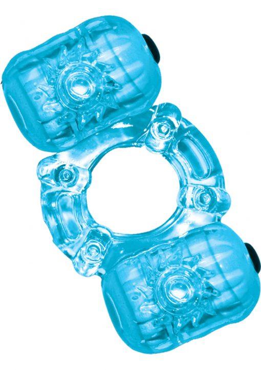 Hero Double Pleaser Teaser Cock Ring Waterproof Blue