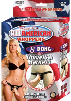 Real Skin All American Whoppers Dong With Universal Harness 8 Inch Flesh