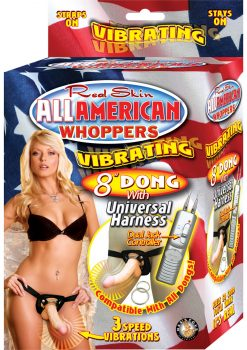 Real Skin All American Whoppers Vibrating Dong With Universal Harness 8 Inch Flesh