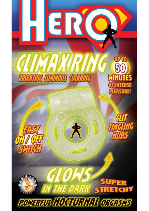 Hero Climax Vibrating Luminous Cock Ring Glow In The Dark