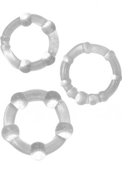 Ram Beaded Cockrings Clear 3 Assorted Sizes Per Set