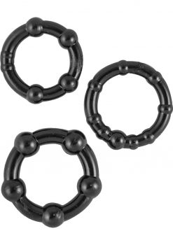 Ram Beaded Cockrings Black 3 Assorted Sizes Per Set