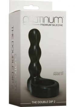 Platinum The Double Dip 2 Silicone Dual Penetration Cockring Black