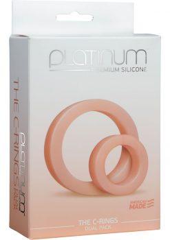 Platinum Premium Silicone The C Rings Cock Ring Double Pack White