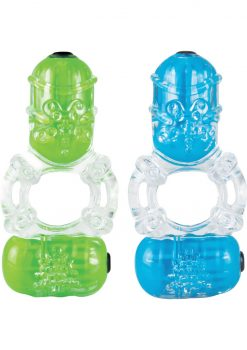 Color Pop Big O 2 Silicone Double Vibe Cockring Waterproof Assorted Colors