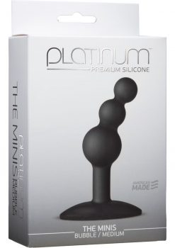 Platinum Premium Silicone The Minis Bubble Butt Plug Black Medium 3.8 Inch
