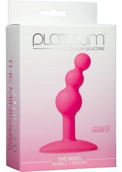 Platinum Premium Silicone The Minis Bubble Butt Plug Pink Medium 3.8 Inch