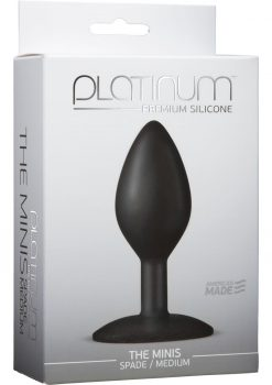 Platinum Premium Silicone The Minis Spade Butt Plug Black Medium 3.5 Inch