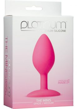 Platinum Premium Silicone The Minis Spade Butt Plug Pink Medium 3.5 Inch