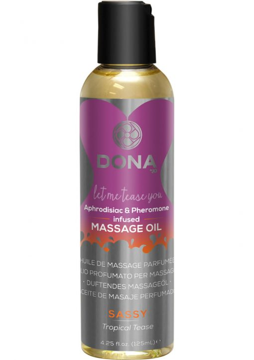 Dona Aphrodisiac and Pheromone Infused Massage Oil Sassy Tropical Tease 4.25 Ounce