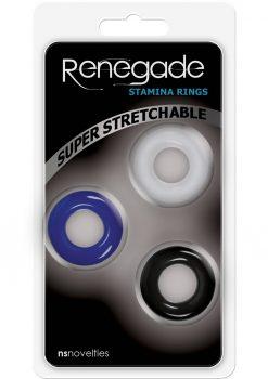 Renegade Stamina Rings Assorted Colors 3 Cock Rings Per Pack