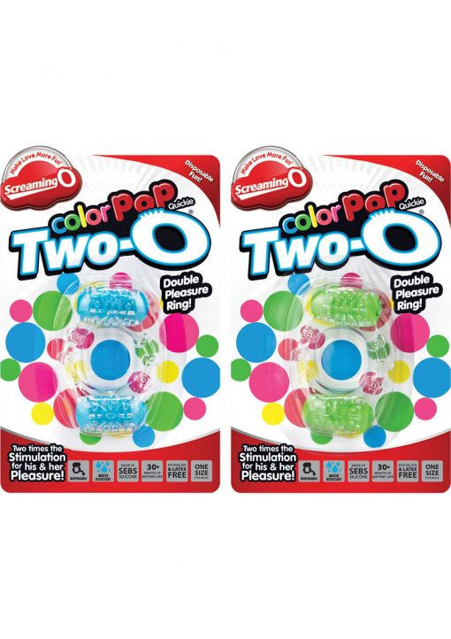Color Pop Quickie Two O Silicone Dual Vibrating Cockring Assorted Colors 12 Each Per Case