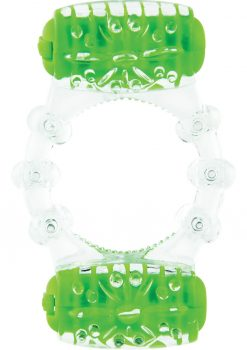 Color Pop Quickie Two O Silicone Dual Vibrating Cockring Green