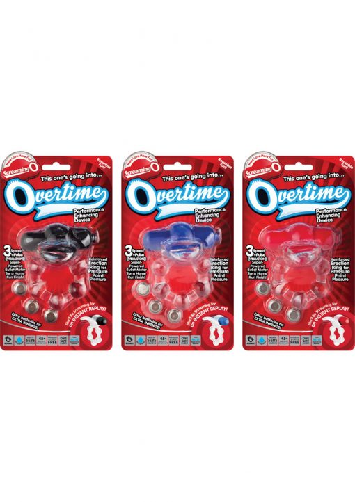 Overtime Silicone Vibrating Cockring Waterproof Assorted Colors 6 Each Per Case