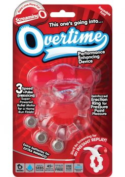 Overtime Silicone Vibrating Cockring Waterproof Red