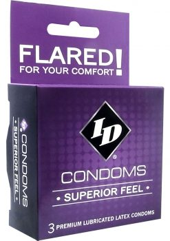 ID Superior Feel Lubricated Latex Condoms 3 Each Per Pack