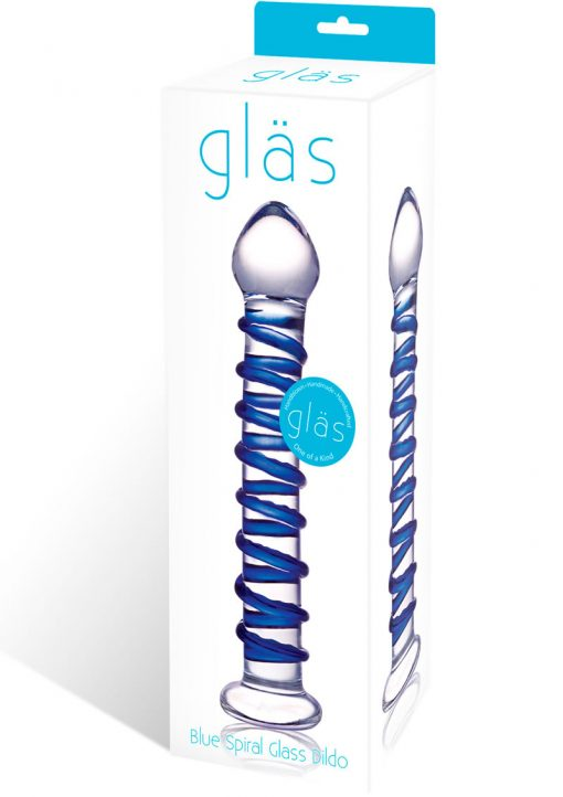 Glas Blue Spiral Glass Dildo