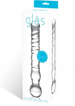 Joystick Textured Glass Dildo Clear