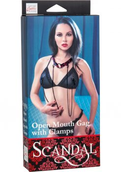Scandal Open Mouth Gag With Nipple Clamps