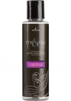 Sensuva Me and You Pheromone Infused Luxury Massage Oil Pomegranate Fig Coconut Plumeria 4.2oz