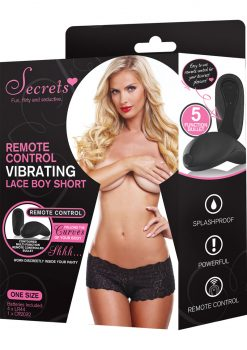 Secrets Remote Control Vibrating Lace Boy Short Black