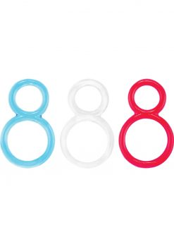 Ofinity Super Stretchy Double Silicone Cockring Waterproof Assorted Colors 6 Each Per Box