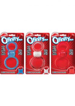 Ofinity Plus Super Stretch Vibrating Double Silicone Cockring Waterproof Assrt Colors 6 Each Per Box