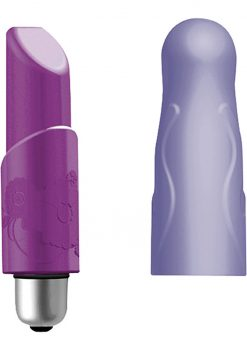Joystick Micro Set Ladylike Bullet With Silicone Sleeves Waterproof Blackberry And Lilac 3.15 Inch
