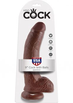 King Cock Realistic Dildo With Balls Brown 9 Inch