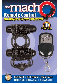 Macho Remote Control Dual Vibe Cockring Waterproof Black