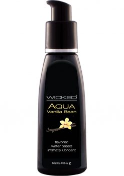 Wicked Aqua Water Based Flavored Lubricant Vanilla Bean 2 Ounce