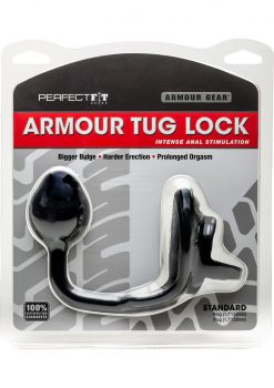 Perfect Fit Armour Gear Armour Tug Lock Prostate Plug Standard - Black