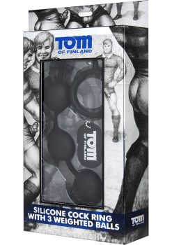 Tom Of Finland Silicone Cock Ring With 3 Weighted Anal Balls Black 12 Inch