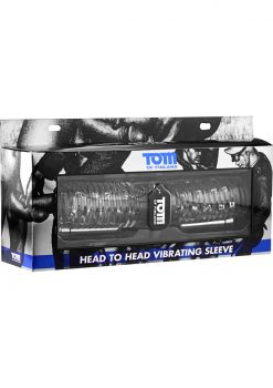 Tom Of Finland Head To Head Vibrating Sleeve Stroker Clear 10.5 Inch