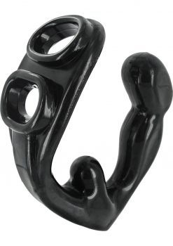 Master Series Rogue Erection Enhancer Cockring With Prostate Stimulator Black 4.5 Inch
